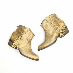 Very Volatile Distressed Fringe Western Style Boot